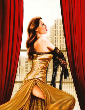 Алмазная мозаика 40x50 Девушка в вечернем наряде у балкона