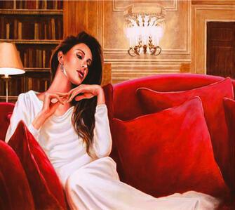 Алмазная мозаика 40x50 Девушка в вечернем платье на красном диване