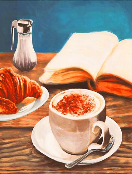 Алмазная мозаика 40x50 Кофе, круассан и книга