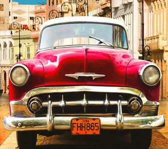 Алмазная мозаика 40x50 Красный американский автомобиль на Кубе