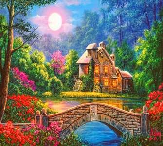 Алмазная мозаика 40x50 Милый домик у озера