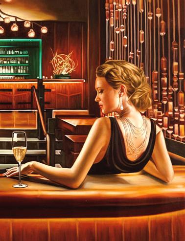 Алмазная мозаика 40x50 Девушка в ресторане с бокалом шампанского