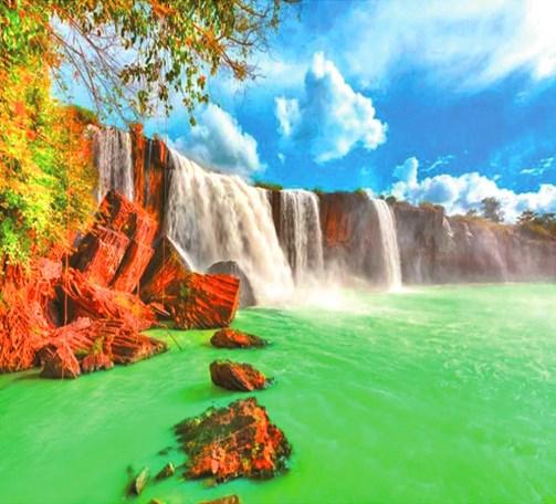 Алмазная мозаика 40x50 Водопад с лазурной водой на красных скалах