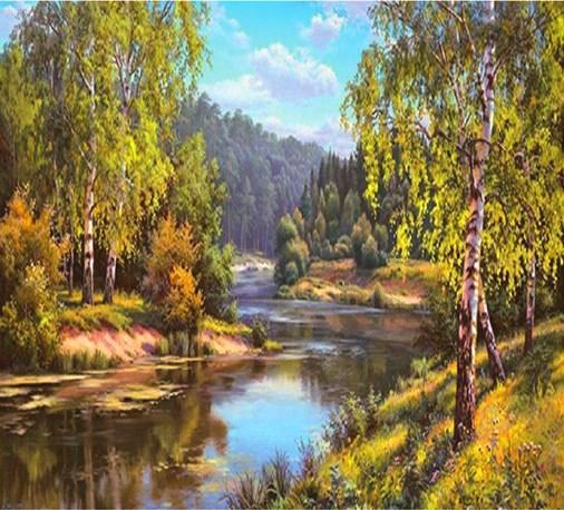 Алмазная мозаика 40x50 Красивый лес и тихая река