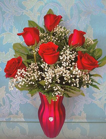 Алмазная мозаика 40x50 Букет красных роз на столе