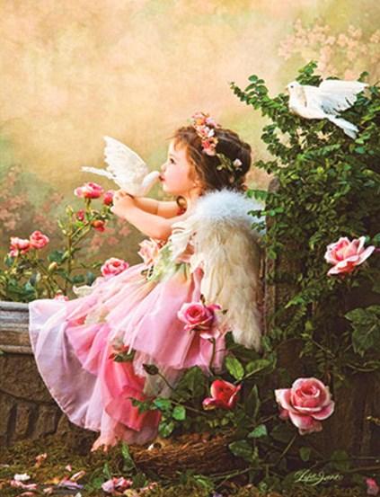 Алмазная мозаика 40x50 Ангелочек среди роз и белые голуби