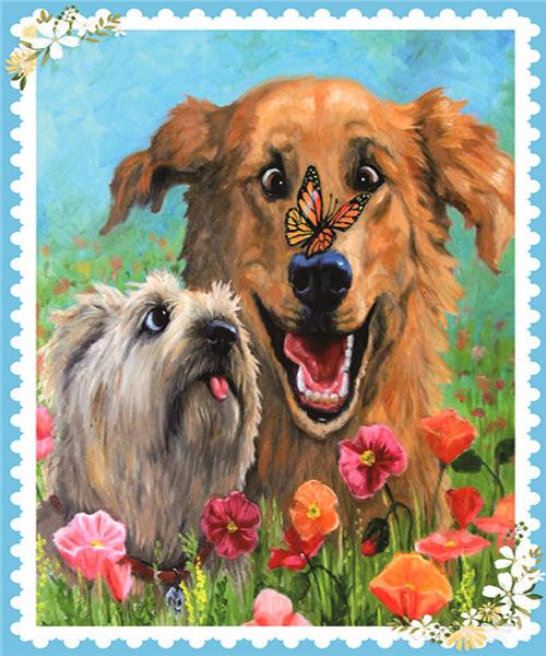 Алмазная мозаика 11x16 Собаки в цветах с бабочкой