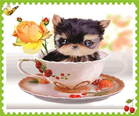 Алмазная мозаика 11x16 Маленький щенок с чайной розой