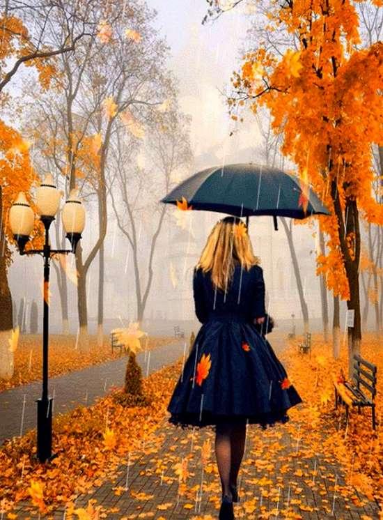 Картина по номерам 40x50 Светловолосая девушка гуляет по осеннему парку
