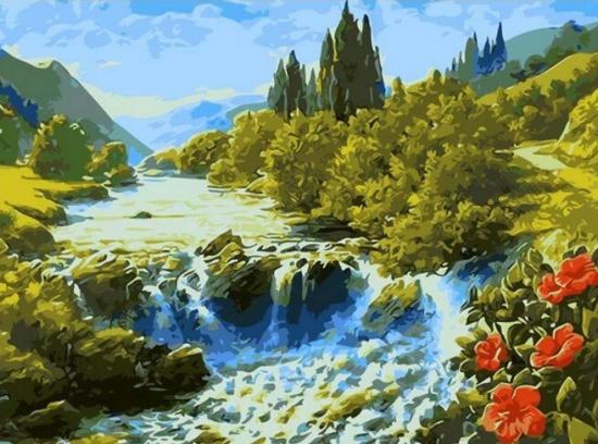 Картина по номерам 40x50 Бурлящий водопад