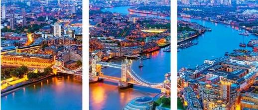 Триптих по номерам 40x50x3 Вид на реку Темзу с птичьего полета