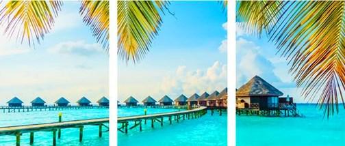 Триптих по номерам 40x50x3 Курорт на Мальдивах