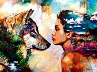 Картина по номерам 40x50 Волк смотрит на девушку