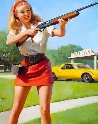 Картина по номерам 40x50 Девушка с ружьем