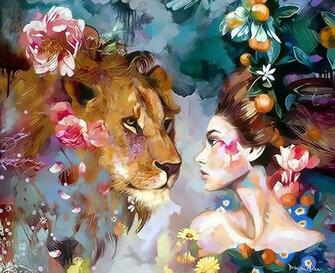 Картина по номерам 40x50 Девушка и лев в цветах