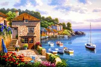 Картина по номерам 40x50 Уютный дворик с видом на залив