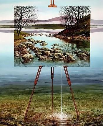 Картина по номерам 40x50 Пейзаж на мольберте