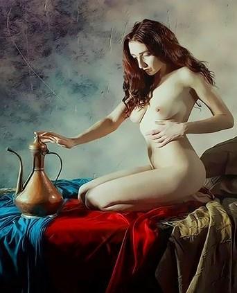 Картина по номерам 40x50 Обнаженная женщина и масло