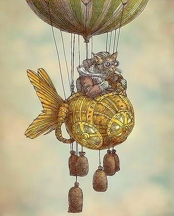 Картина по номерам 40x50 Кот-летчик на воздушном шаре
