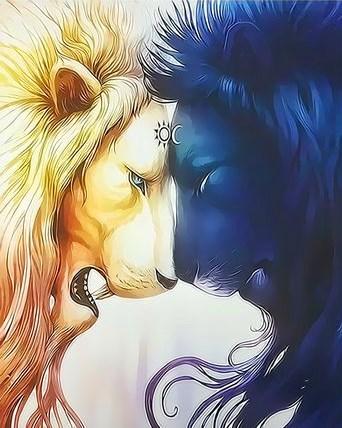 Картина по номерам 30x40 Львы - день и ночь