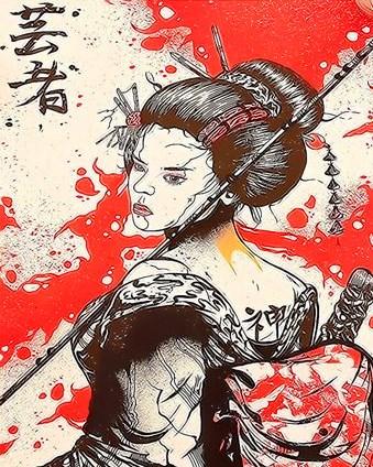 Картина по номерам 30x40 Самурайша с рюкзаком