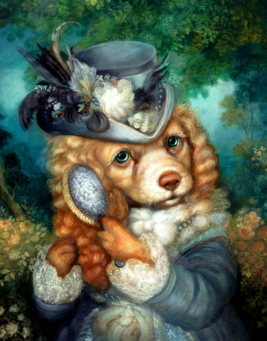 Картина по номерам 40x50 Собачка-графиня