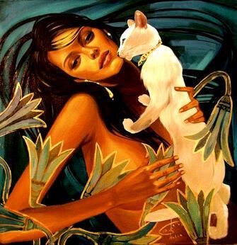 Картина по номерам 40x50 Девушка и белая кошка