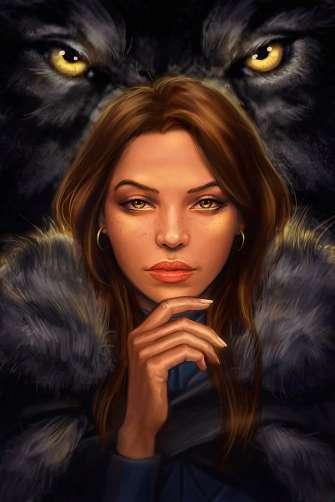 Картина по номерам 40x50 Девушка в волчьей шубе