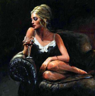 Картина по номерам 40x50 Девушка на диване с бокалом вина
