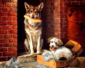 Картина по номерам 40x50 Собаки с бубликами
