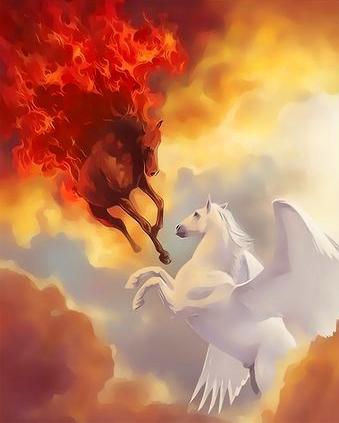 Картина по номерам 40x50 Сражение пегаса с огненным конем