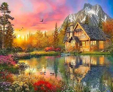 Картина по номерам 40x50 Деревянный домик у горы