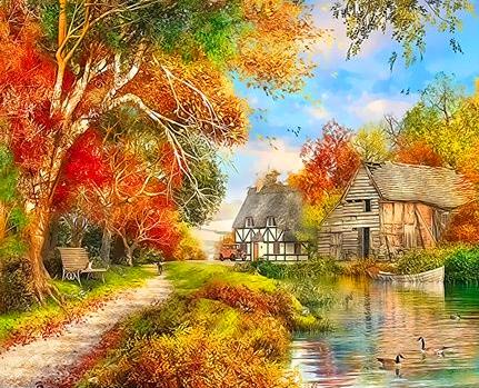 Картина по номерам 40x50 Осениий пейзаж и река с утками