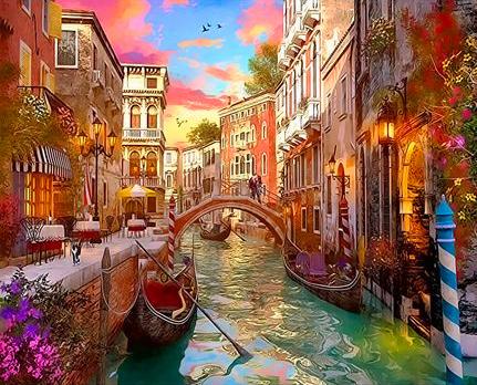 Картина по номерам 40x50 Венецианский канал в лучах солнца