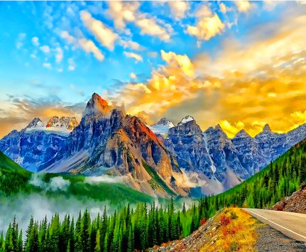 Картина по номерам 40x50 Закат над высокими горами