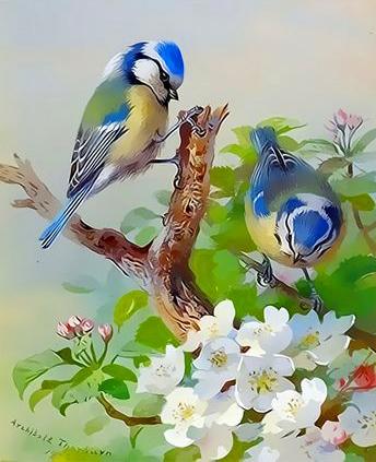 Картина по номерам 40x50 Птицы на цветущих деревьях