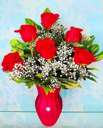 Картина по номерам 40x50 Букет роз в красной вазе