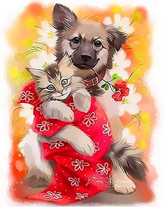 Картина по номерам 40x50 Собака и котенок в пеленке