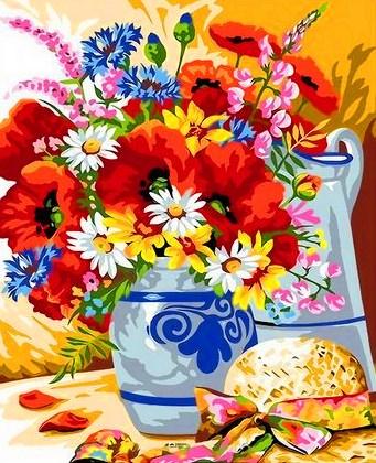 Картина по номерам 40x50 Натюрморт с букетом полевых цветов и шляпой