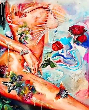 Картина по номерам 40x50 Обнаженное тело, цветы и бабочки