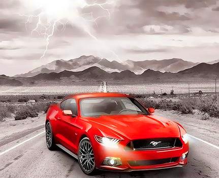 Картина по номерам 40x50 Красный автомобиль на фоне молнии