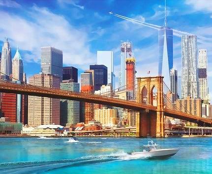 Картина по номерам 40x50 Вид на Бруклинский мост с реки