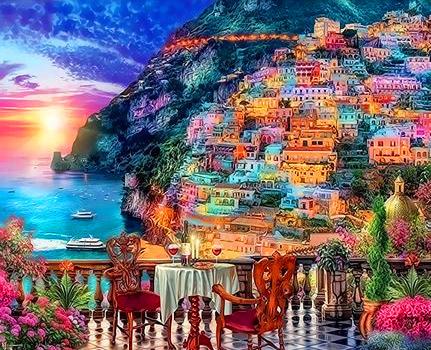 Картина по номерам 40x50 Город на горе у моря