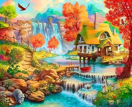 Картина по номерам 40x50 Сказочный домик у водопада