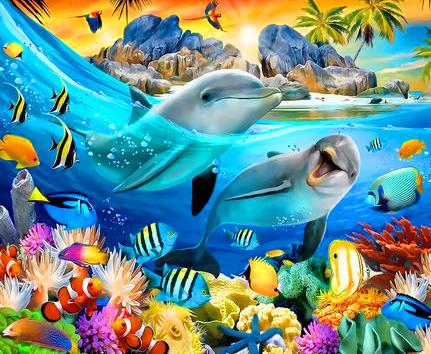 Картина по номерам 40x50 Рыбы и дельфины