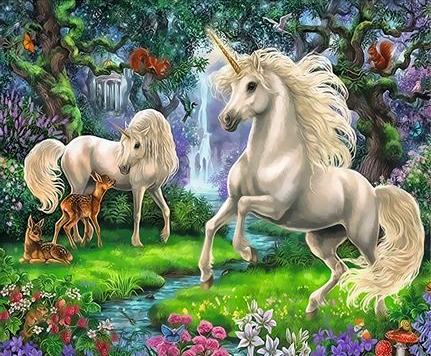 Картина по номерам 40x50 Единороги в лесу с оленятами