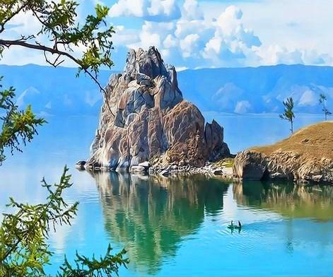 Картина по номерам 40x50 Отражение одинокой скалы в водах озера