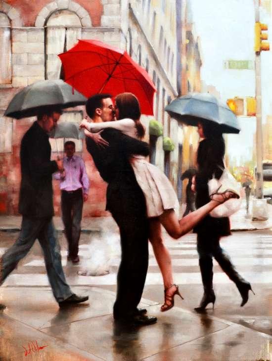 Картина по номерам 40x50 Поцелуй среди прохожих