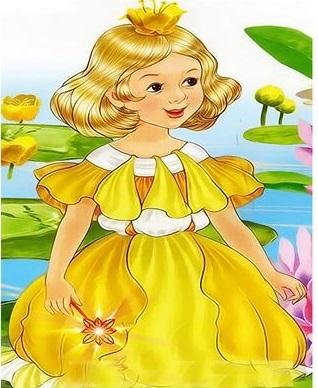 Картина по номерам 20x30 Девочка в желтом платье
