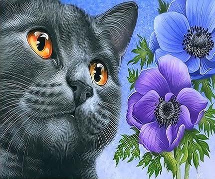 Картина по номерам 20x30 Серый котик и синие цветы